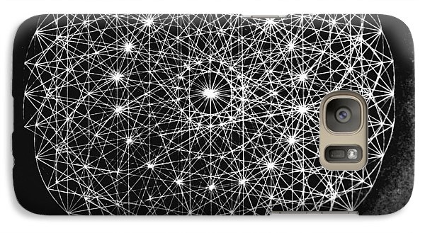 Galaxy Case featuring the drawing Wave Particle Duality Black White by Jason Padgett