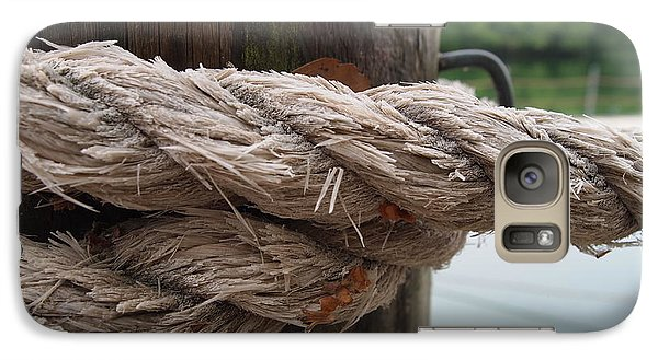 Galaxy Case featuring the photograph Weathered Ropes On The Dock by Deborah Fay