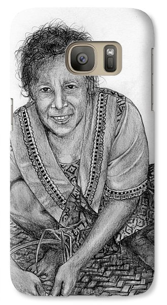 Galaxy Case featuring the drawing Weaving A Mat 2 by Lew Davis