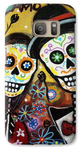 Galaxy Case featuring the painting Wedding Dia De Los Muertos by Pristine Cartera Turkus