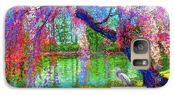 Weeping Beauty, Cherry Blossom Tree And Heron Galaxy S7 Case