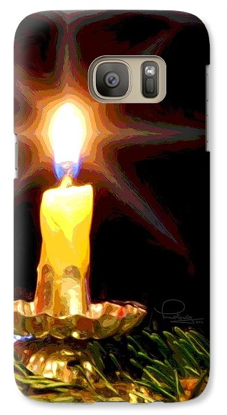 Galaxy Case featuring the photograph Weihnachtskerze - Christmas Candle by Ludwig Keck