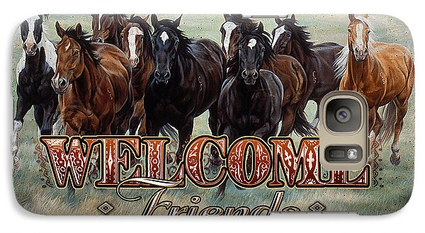 Galaxy Case featuring the painting Welcome Friends Horses by JQ Licensing