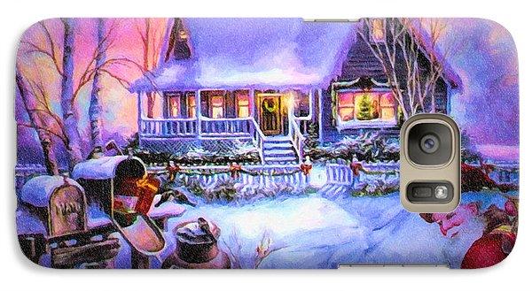 Galaxy Case featuring the digital art Welcome Santa - Retro Vintage Inspired Christmas Scene by Lianne Schneider