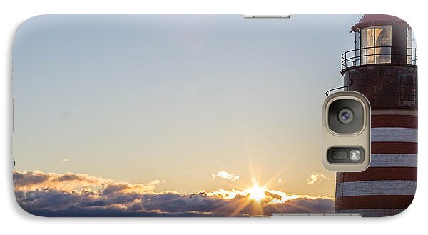 Galaxy Case featuring the photograph West Quoddy Lighthouse Sunrise by Trace Kittrell