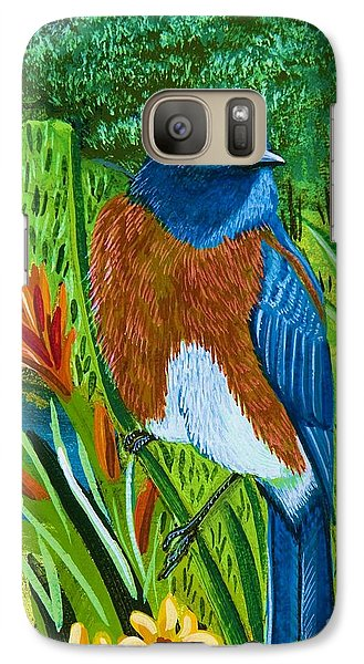 Galaxy Case featuring the painting Western Bluebird by Jennifer Lake