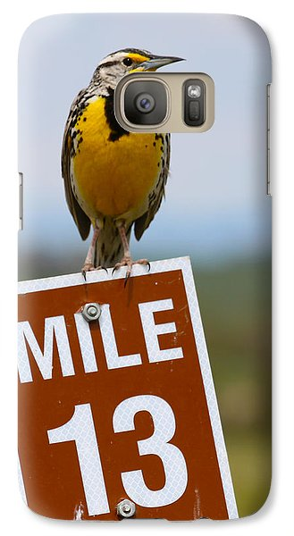 Western Meadowlark On The Mile 13 Sign Galaxy S7 Case by Karon Melillo DeVega