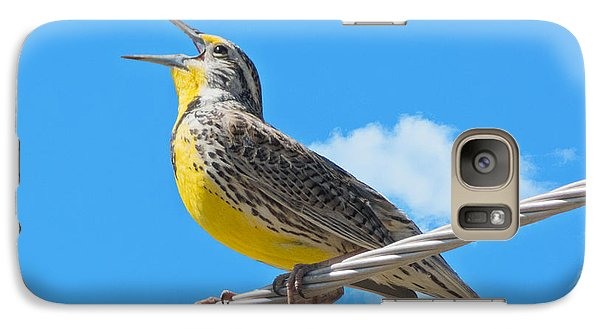 Galaxy Case featuring the photograph Western Meadowlark Singing From A Wire by Stephen  Johnson