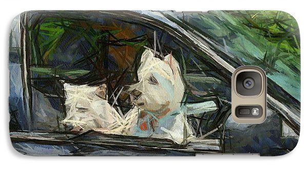 Galaxy Case featuring the digital art Westies Going For A Ride by Carrie OBrien Sibley