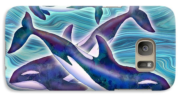 Galaxy Case featuring the mixed media Whale Whimsey by Teresa Ascone