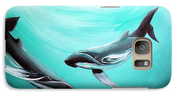 Galaxy Case featuring the painting Whales by Bernadette Krupa
