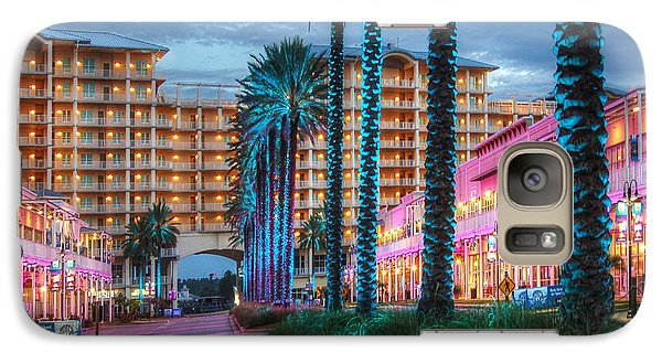Galaxy Case featuring the photograph Wharf Blue Lighted Trees by Michael Thomas