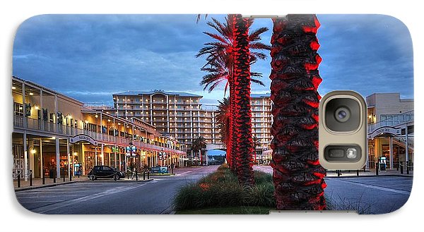 Galaxy Case featuring the digital art Wharf Red Lighted Trees by Michael Thomas
