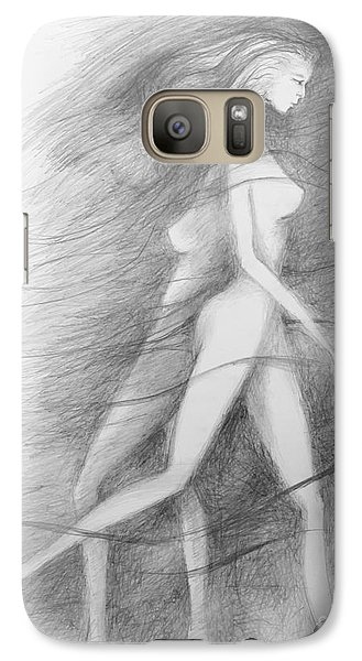Galaxy Case featuring the drawing What Lies Within My Shadow by Marat Essex