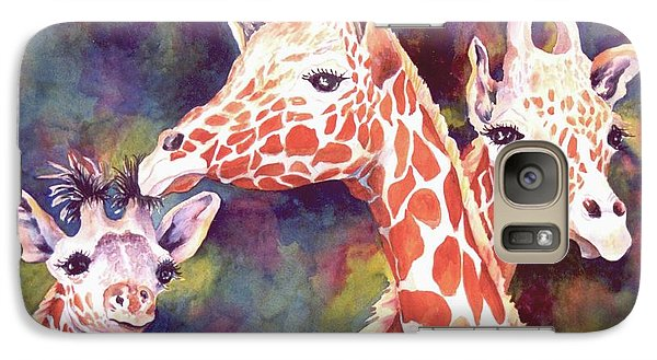 Galaxy Case featuring the painting What's Up Dad - Giraffes by Roxanne Tobaison