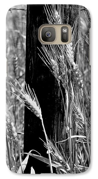 Galaxy Case featuring the photograph Wheat And Fence Post by Ellen Tully