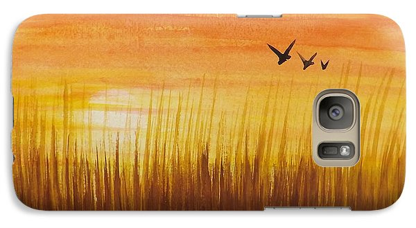 Galaxy Case featuring the painting Wheatfield At Sunset by Darren Robinson