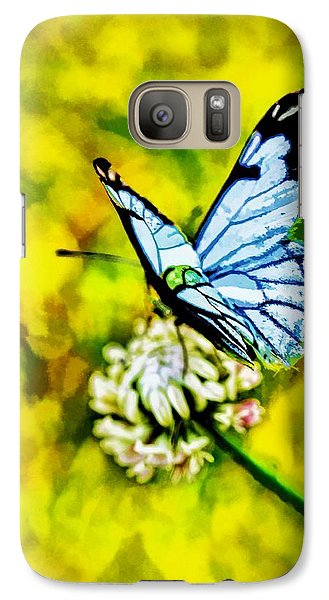Galaxy Case featuring the painting Whimsical Butterfly On A Flower by Tracie Kaska