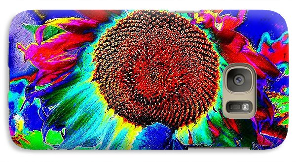Galaxy Case featuring the digital art Whimsical Colorful Sunflower by Annie Zeno