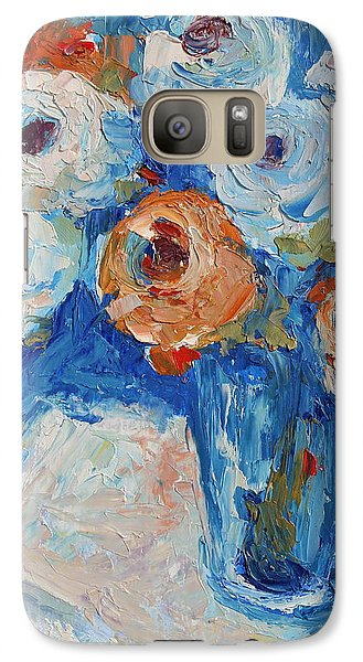 Galaxy Case featuring the painting White And Orange Roses In A Sea Of Blue by Thomas Bertram POOLE