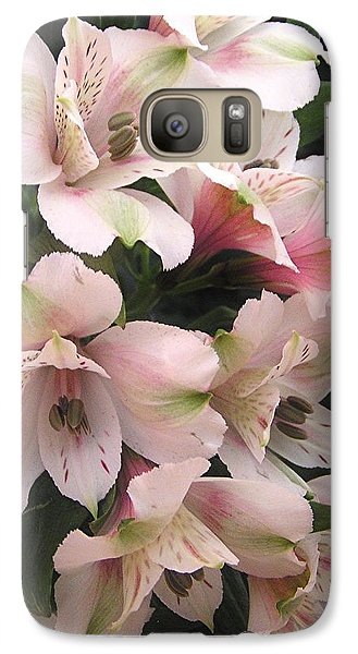 Galaxy Case featuring the photograph White And Pink Peruvian Lilies by Diane Alexander