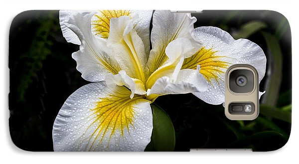 Galaxy Case featuring the digital art White And Yellow Bearded Iris by Photographic Art by Russel Ray Photos