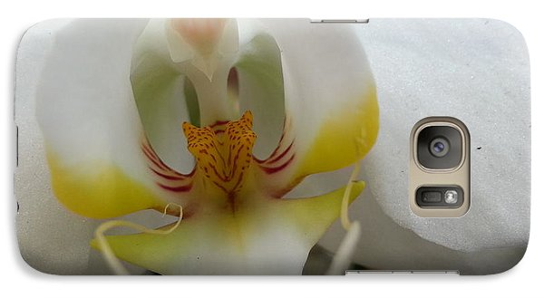 Galaxy Case featuring the photograph White And Yellow Orchid by Caryl J Bohn