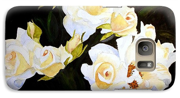 Galaxy Case featuring the painting White And Yellow Roses by Carol Grimes