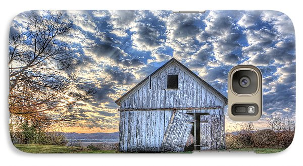 Galaxy Case featuring the photograph White Barn At Sunrise by Jaki Miller