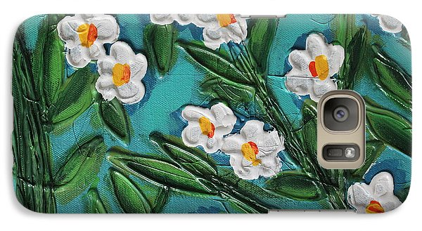 Galaxy Case featuring the painting White Blooms 2 by Cynthia Snyder