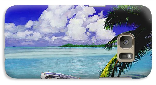Galaxy Case featuring the painting White Boat On A Tropical Island by David  Van Hulst