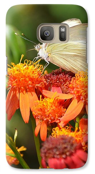 Galaxy Case featuring the photograph White Butterfly On Mexican Flame by Debra Martz