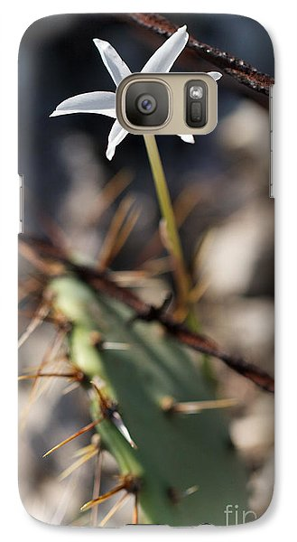 Galaxy Case featuring the photograph White Cactus Flower by Erika Weber