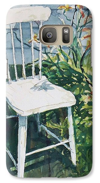Galaxy Case featuring the painting White Chair And Day Lilies by Joy Nichols
