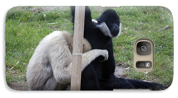 Galaxy Case featuring the photograph White-cheeked Gibbon - 0001 by S and S Photo