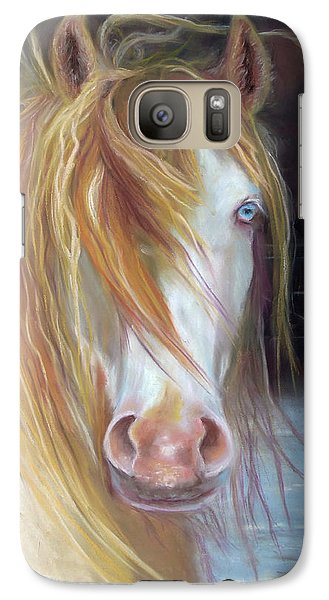 Galaxy Case featuring the painting White Chocolate Stallion by Karen Kennedy Chatham