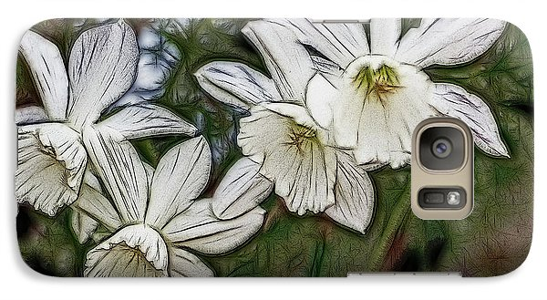 Galaxy Case featuring the digital art White Daffodil Flowers by Photographic Art by Russel Ray Photos
