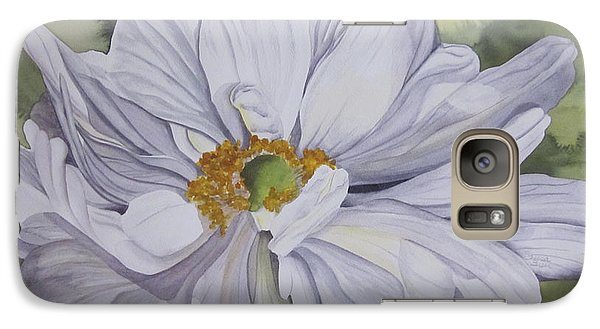 Galaxy Case featuring the painting White Flower Companion by Teresa Beyer