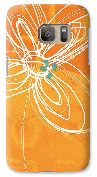 Fruits Galaxy S7 Case - White Flower On Orange by Linda Woods