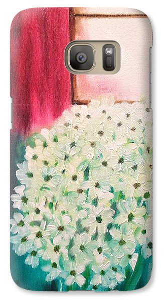 Galaxy Case featuring the painting White Flowers by Brindha Naveen