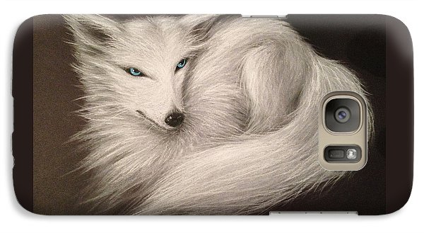 Galaxy Case featuring the drawing White Fox by Patricia Lintner