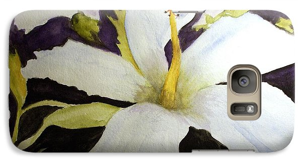 Galaxy Case featuring the painting White Hibiscus by Carol Grimes