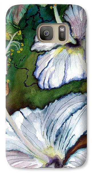 Galaxy Case featuring the painting White Hibiscus by Lil Taylor