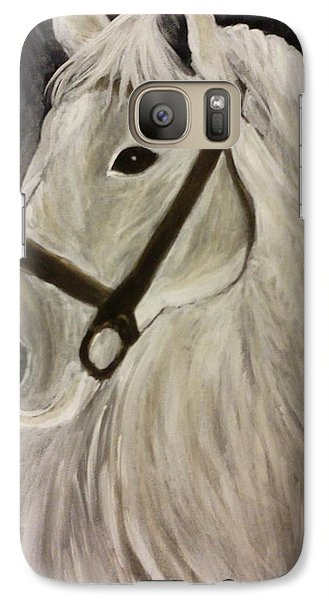 Galaxy Case featuring the painting White Horse by Christy Saunders Church