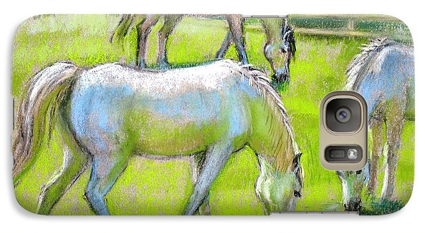 Galaxy Case featuring the painting White Horses Grazing by Sue Halstenberg