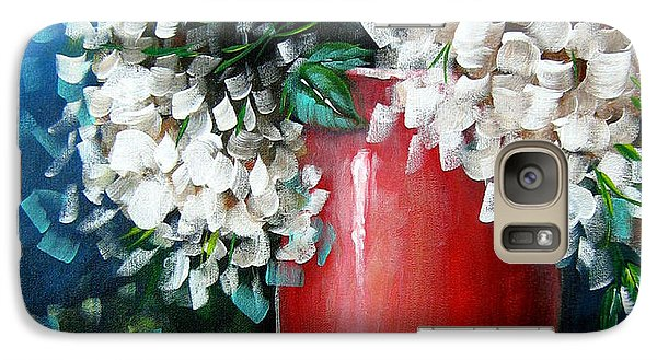 Galaxy Case featuring the painting White Hydrangeas by Patrice Torrillo