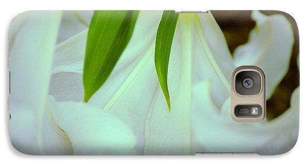 Galaxy Case featuring the photograph White Lily Bows  by Beth Akerman
