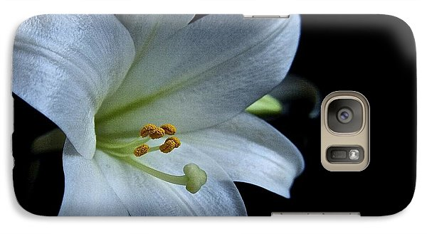 Galaxy Case featuring the photograph White Lily On Black by Lori Miller