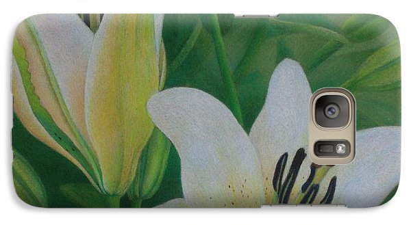 Galaxy Case featuring the painting White Lily by Pamela Clements