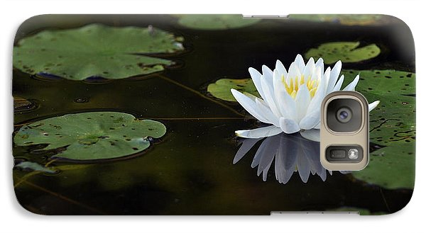 Galaxy Case featuring the photograph White Lotus Lily Flower And Lily Pad by Glenn Gordon